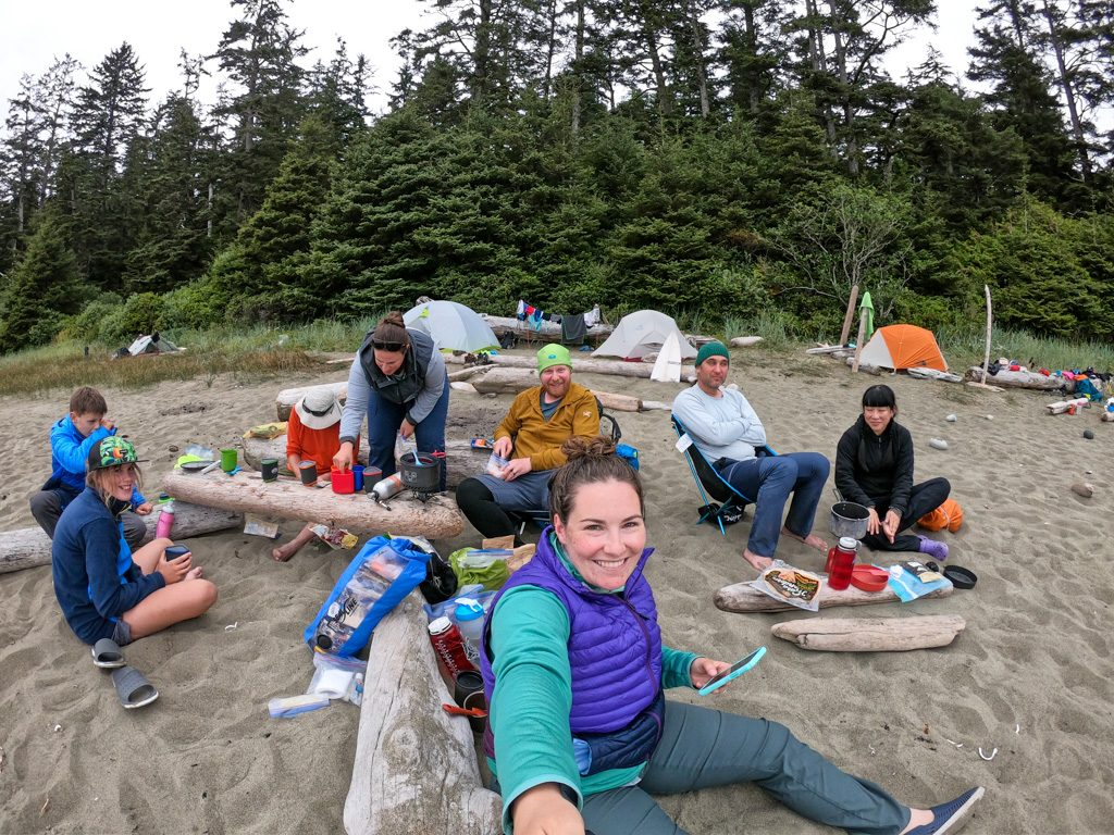 Hikers cooking dinner on the West Coast Trail
