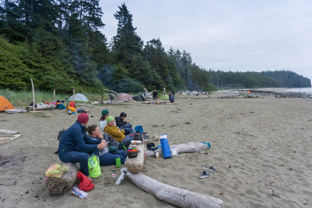 Campers at Cribs Creek on the West Coast Trail in British Columbia