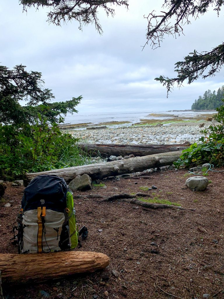 The view from a campsite at Michigan Creek on the West Coast Trail