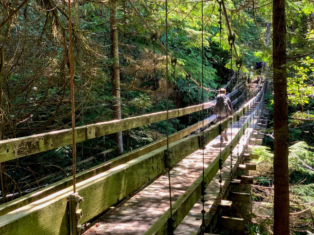 A hiker crosses the Billy Goat Creek suspension bridge on the West Coast Trail