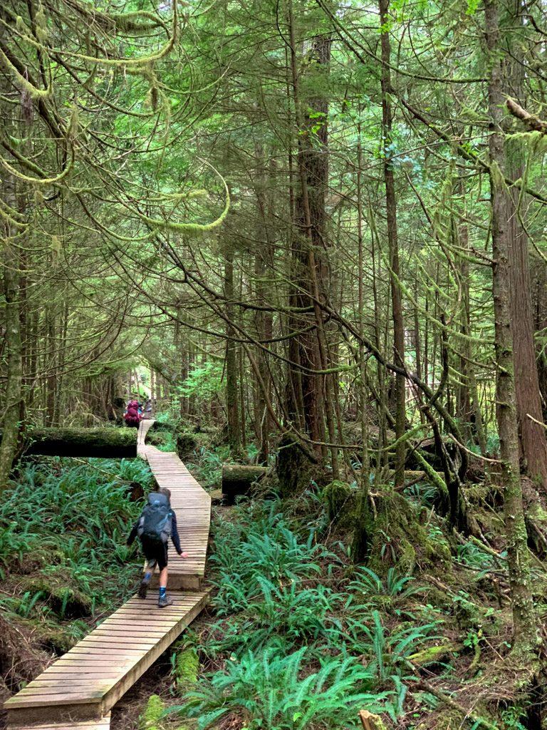Hikers walk on a long boardwalk near Nitinaht Narrows on the West Coast Trail
