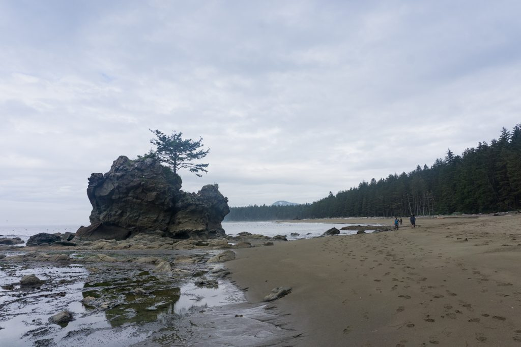Hikers walk past a sea stack on the West Coast Trail