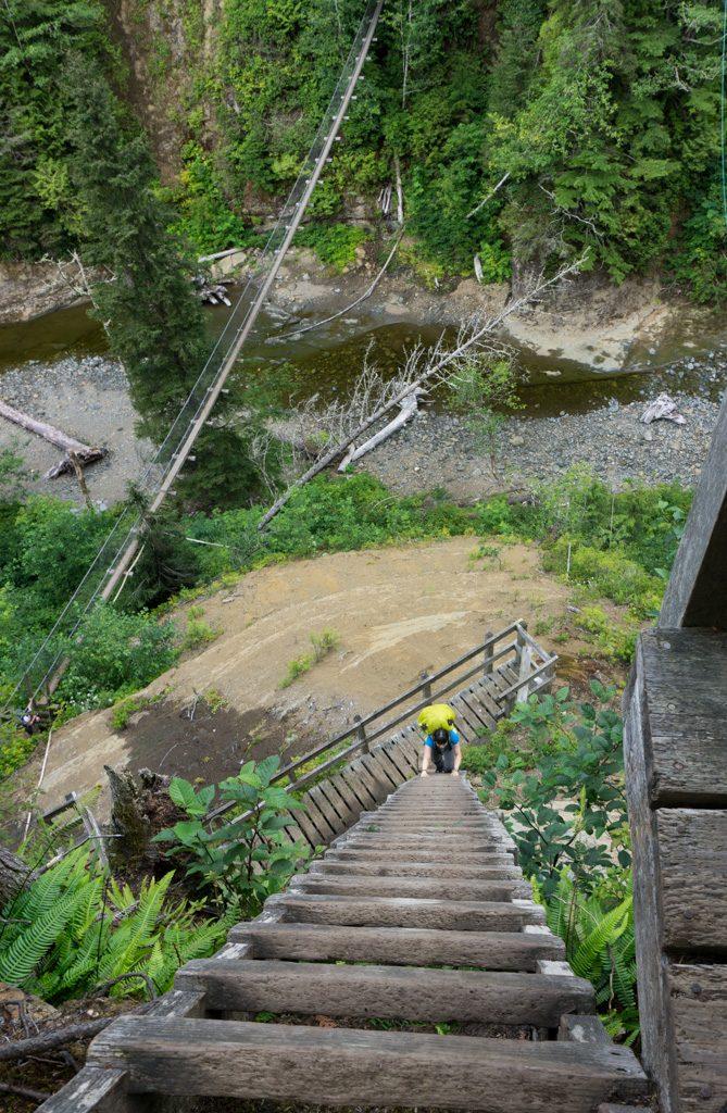 Hikers cross the Logan Creek suspension bridge and climb ladders on the West Coast Trail