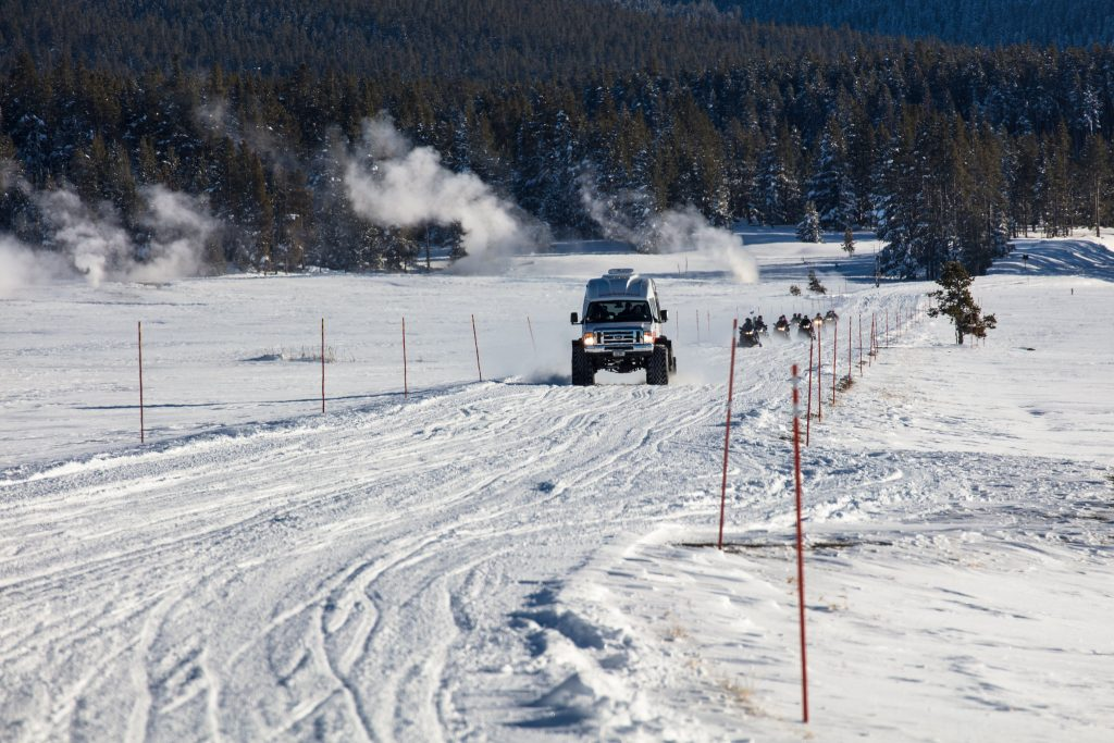 Snowcoach in Yellowstone in winter