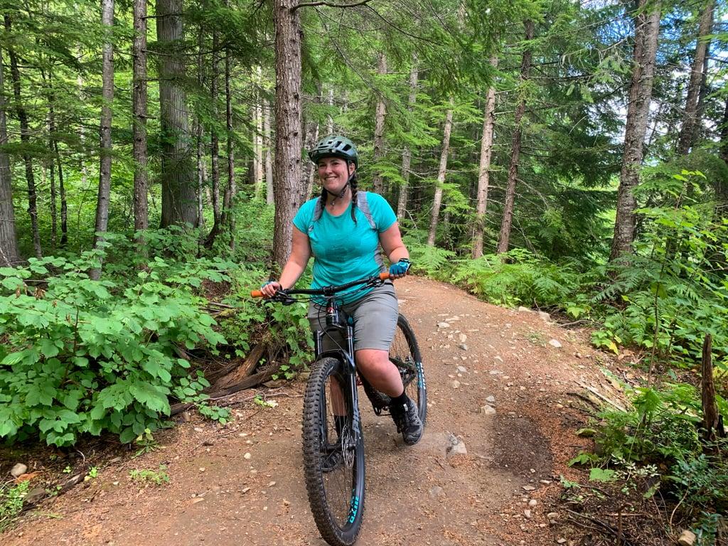 A woman on a mountain bike in Revelstoke