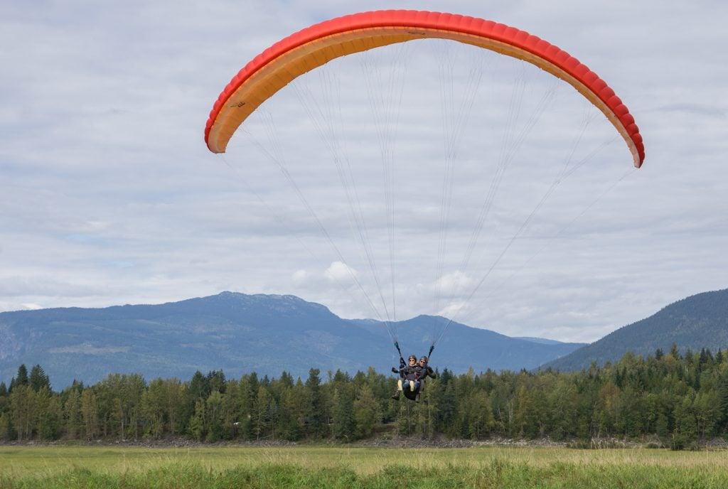 Paraglider landing in Revelstoke, BC