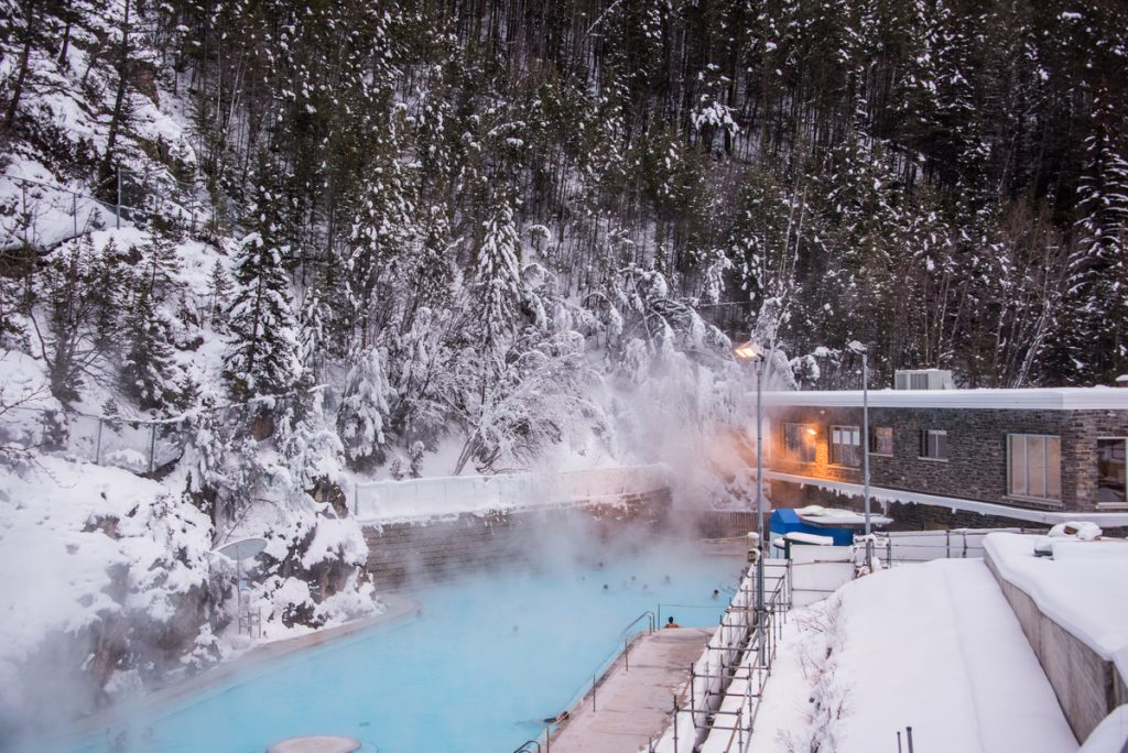Radium Hot Springs in Canada's Rocky Mountains in the winter.