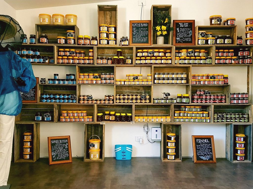 Jars of honey for sale at Bruny Island Honey