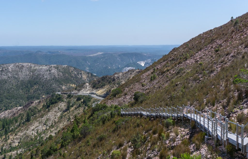 The walkway to Horsetail Falls in Queenstown, Tasmania