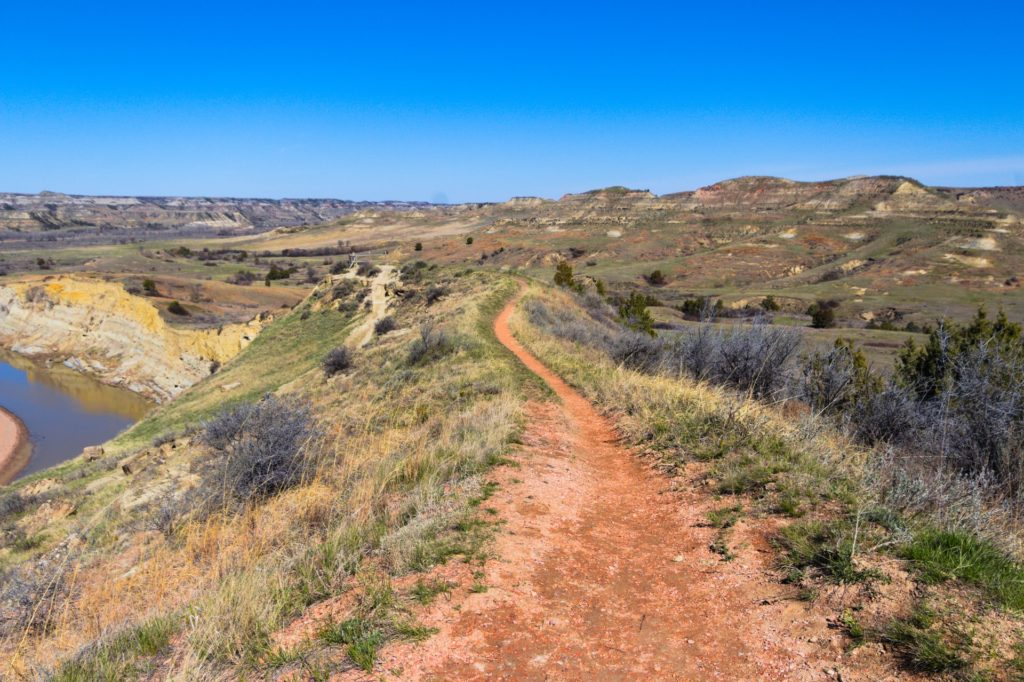 A trail winding through grassy hills in Theodore Roosevelt National Park in North Dakota