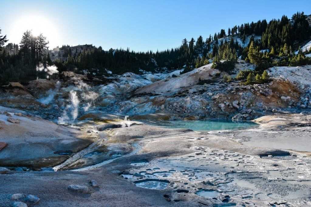 Ice melts on volcanic mud pots in Lassen Volcanic National Park in California - it's an under-the-radar US National Park