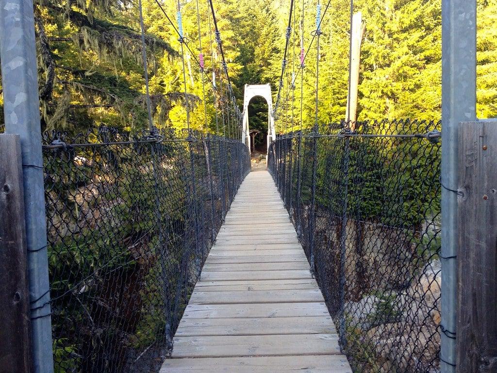 Suspension bridge over the Cheakamus River in the Whistler Interpretive Forest