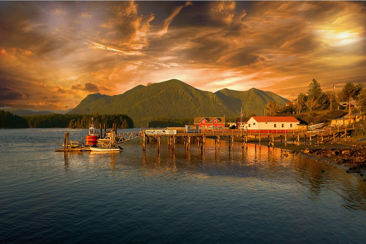 Sunset over boat dock in Tofino, BC, one of over 20 weekend getaways from Vancouver