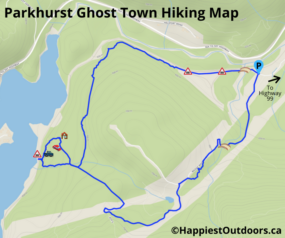 A map showing the routes to Parkhurst Ghost Town in Whistler, BC