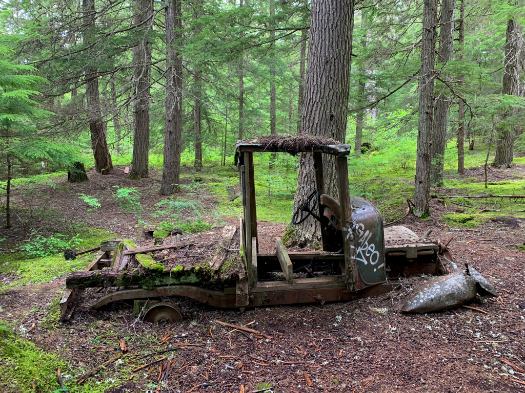 Old truck sinking into the forest floor at Parkhurst Ghost Town
