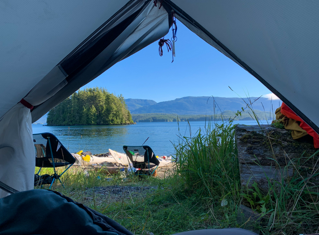 View from a tent in the Johnstone Strait