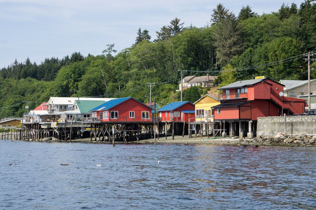 Waterfront buildings on stilts in Alert Bay BC - a visit to Alert Bay is on the best things to do in North Vancouver Island