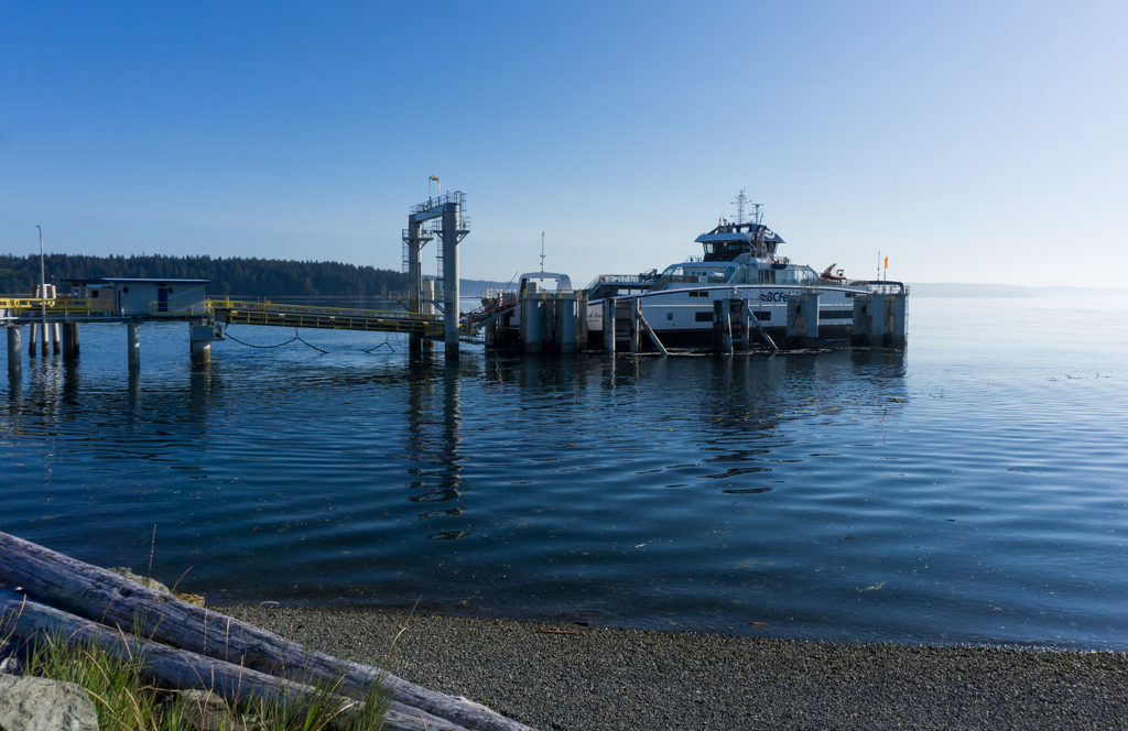 Island Aurora BC Ferry at the dock in Port McNeill, BC