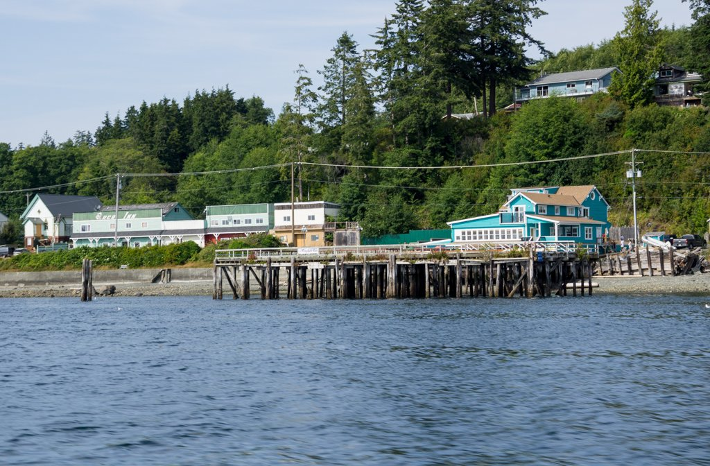 The Nimpkish Hotel in Alert Bay, BC as seen from the water