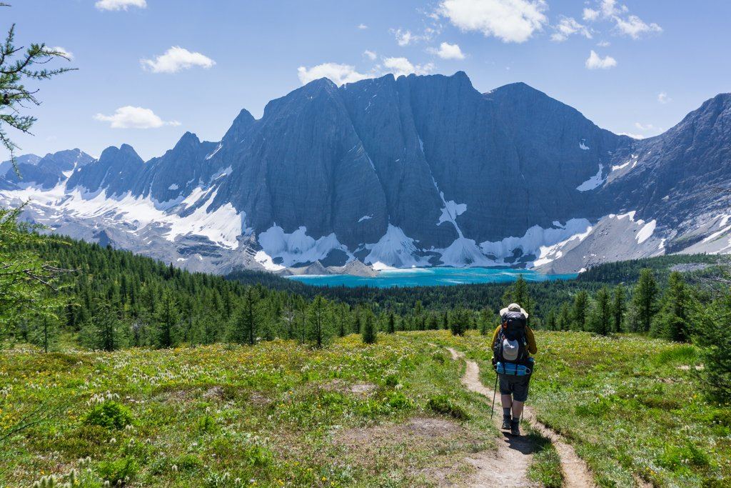 Descending the Rockwall Trail to Floe Lake