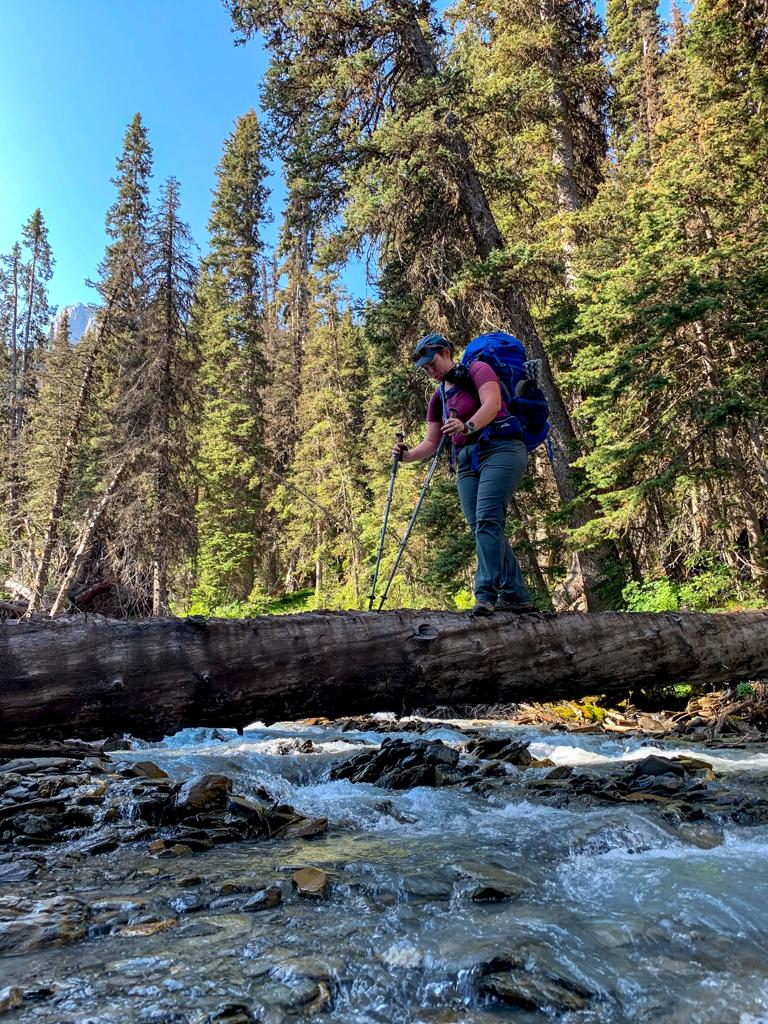 A hiker crossing a log over Numa Creek on the Rockwall Trail