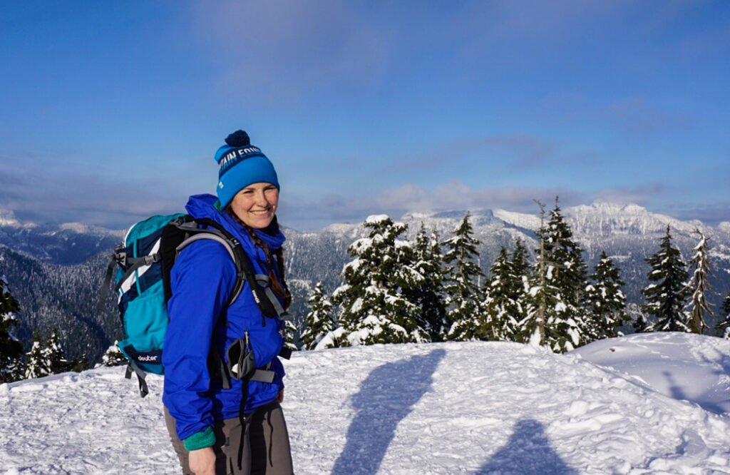 Using a Deuter backpack for snowshoeing. This pack is one of my picks for the best gifts for snowshoers