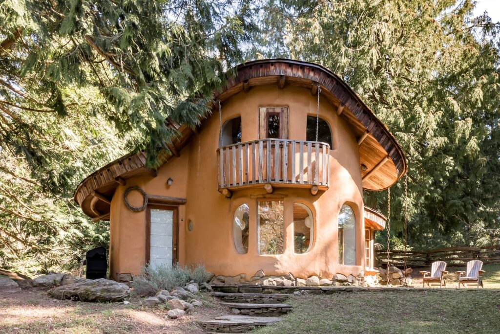 Cob Cottage on Mayne Island, one of the best cabins to rent in the Gulf Islands