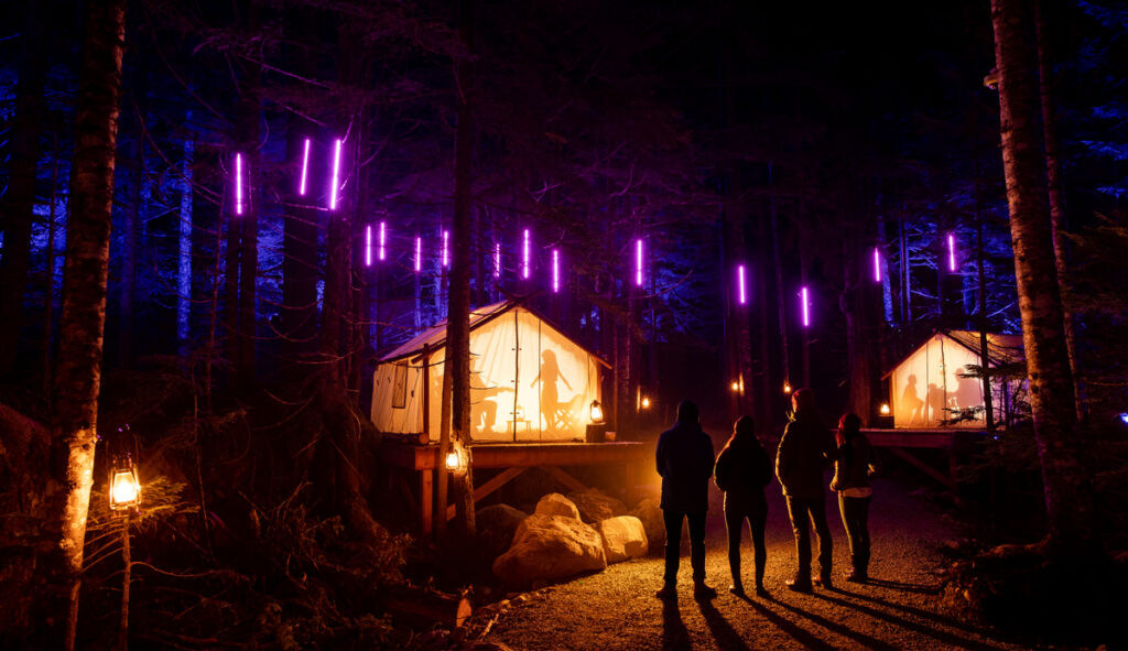 People walk past light displays in the forest at Vallea Lumina in Whistler