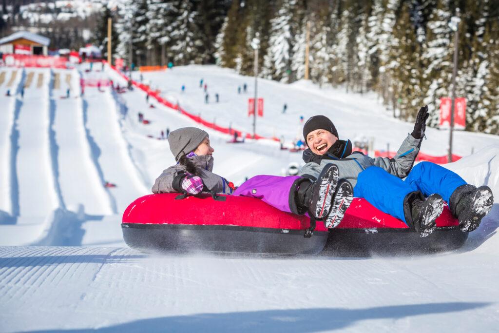 Family sledding at the Whistler Tube Park