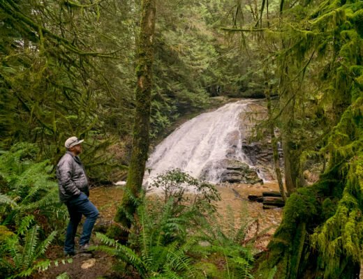 A man stands looks at a waterfall from a hiking trail in Cliff Gilker Park near Roberts Creek on the Sunshine Coast, BC
