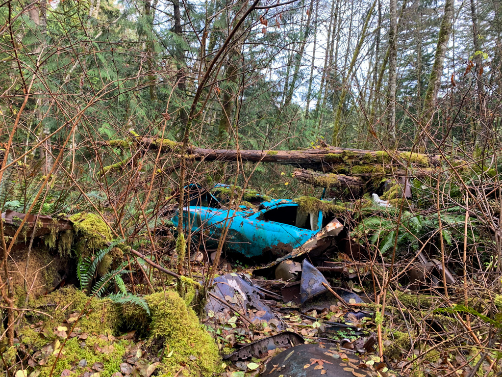 An abandoned car on the trail to Langdale Falls