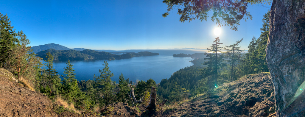 Panoramic view of Keats Island, Bowen Island, and the Georgia Strait from near Gibsons on the Sunshine Coast, BC