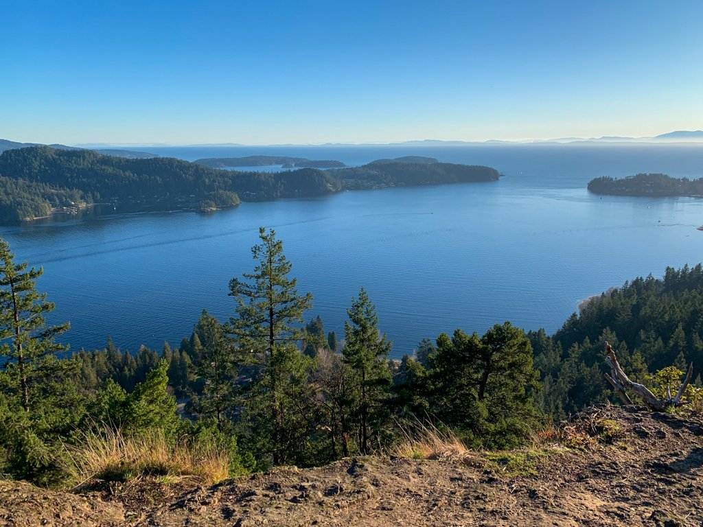 View of ocean and islands from the top of Soames Hill hike on the Sunshine Coast, BC