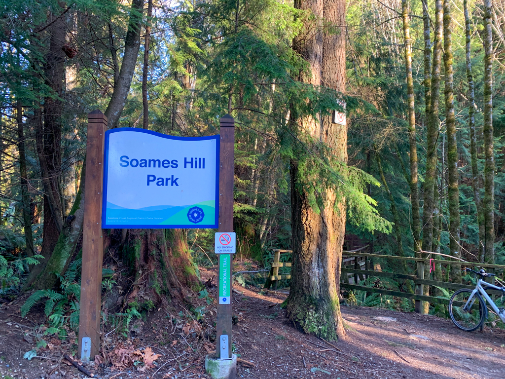 Soames Hill Park sign at the Esperanza Road Trailhead