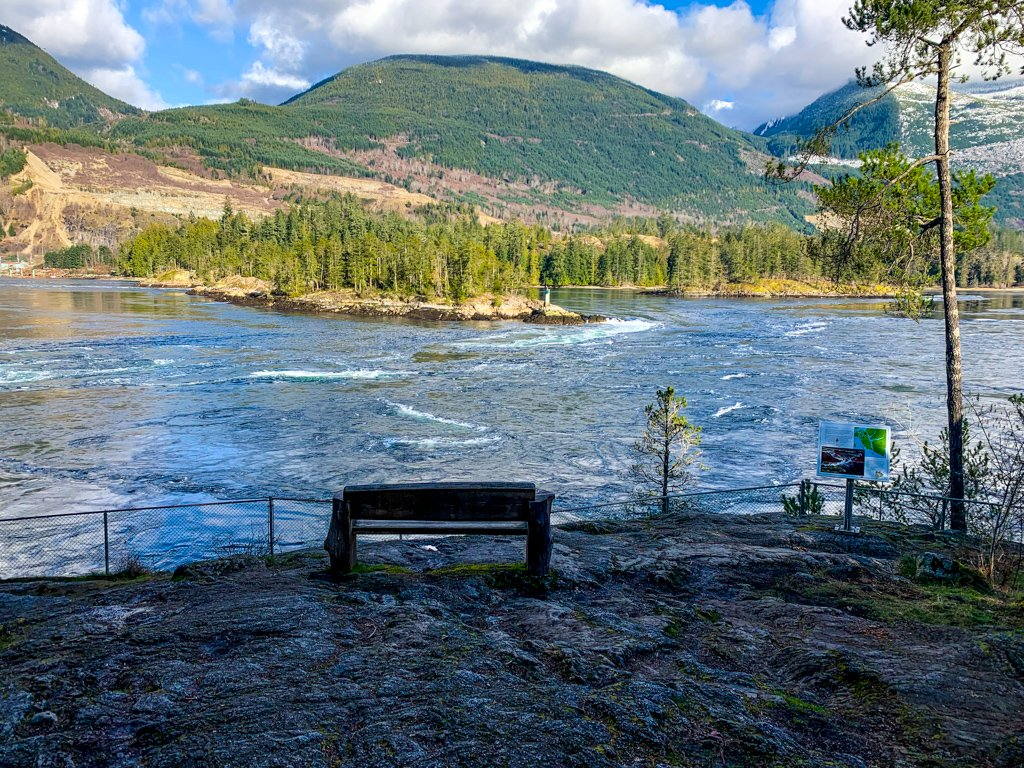 Bench at North Point with a view of the Skookumchuck Rapids