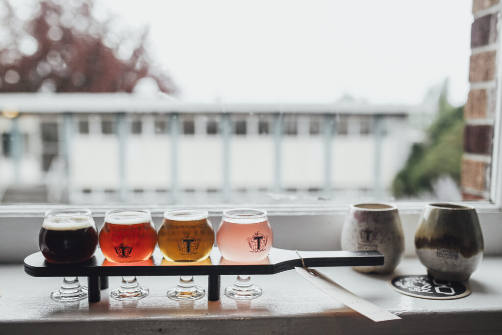 A flight of beer at Townsite Brewing in Powell River. One of the best things to do on the Sunshine Coast, BC