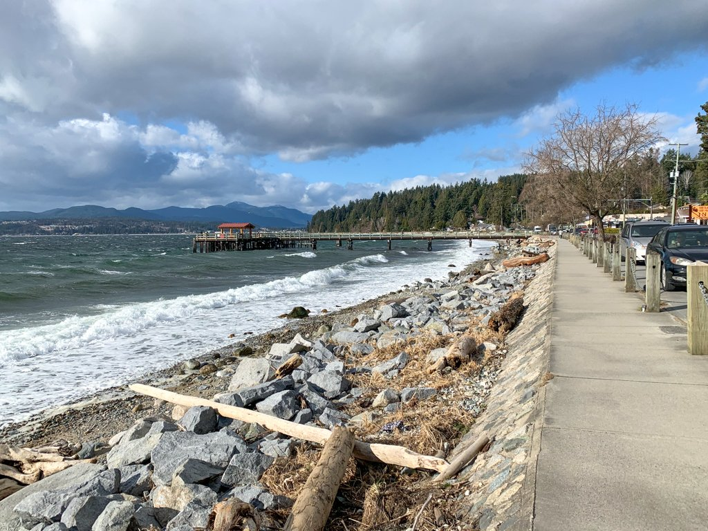 The oceanfront walkway at Davis Bay in Sechelt - one of the best things to do on the Sunshine Coast, BC