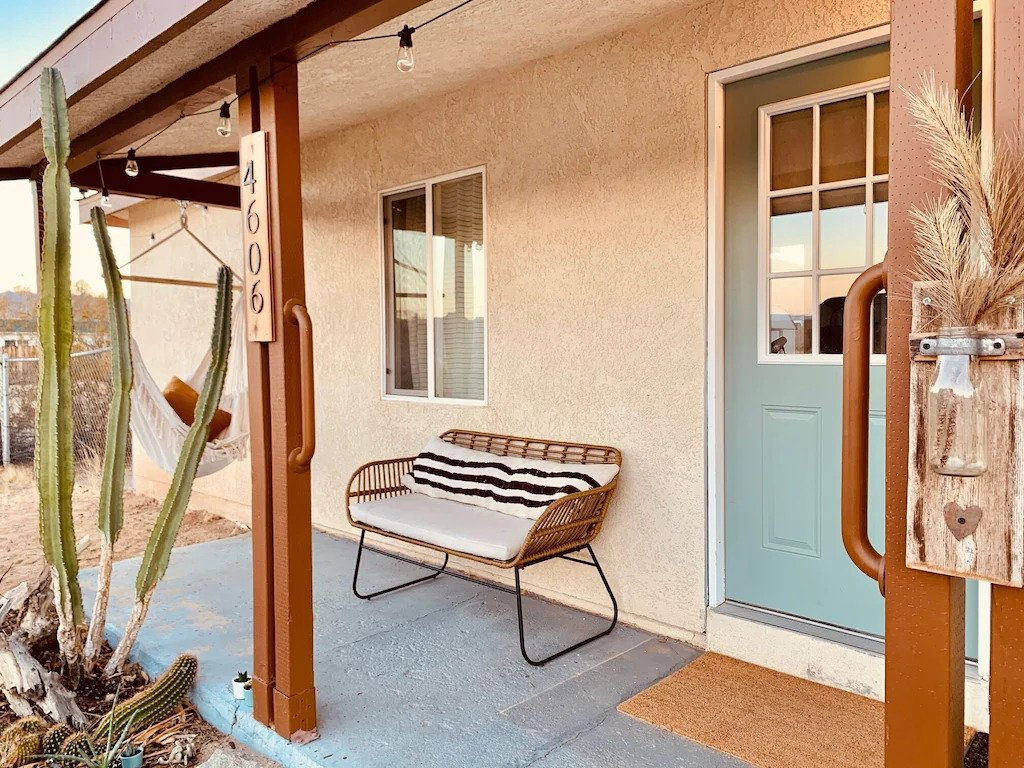 Front porch at the Comfy Boho Cottage, a family-friendly rental house near Joshua Tree National Park
