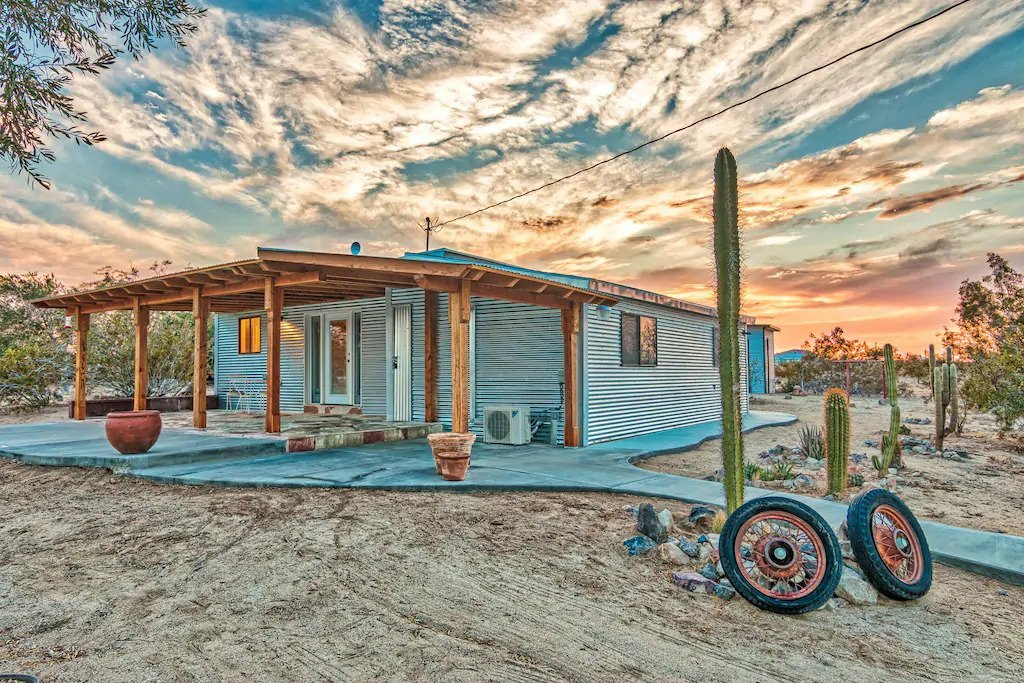 Exterior of the Flying Point Homestead, a great pet-friendly rental home near Joshua Tree National Park