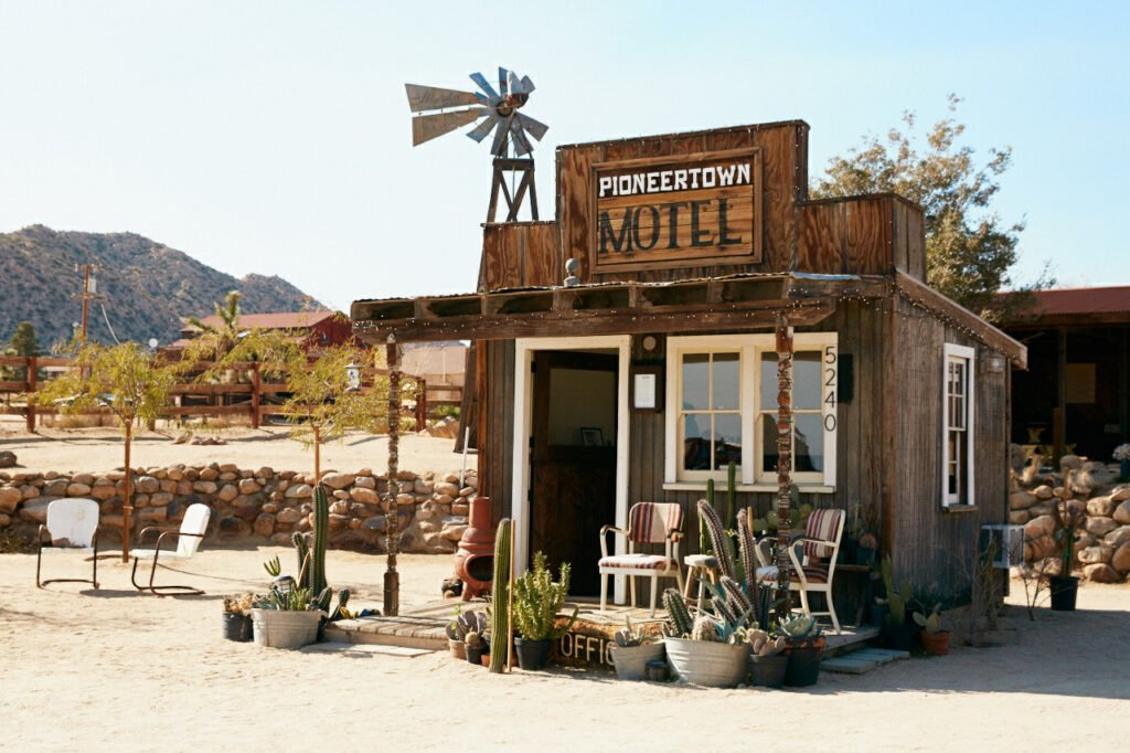 A cute cowboy-style cabin at the Pioneertown Motel in Joshua Tree, California