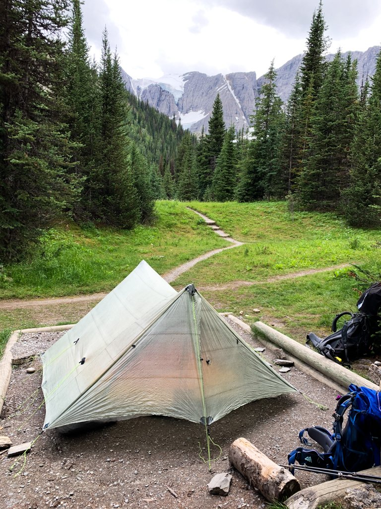 A tent pitched at Tumbling Creek Camp on the Rockwall Trail