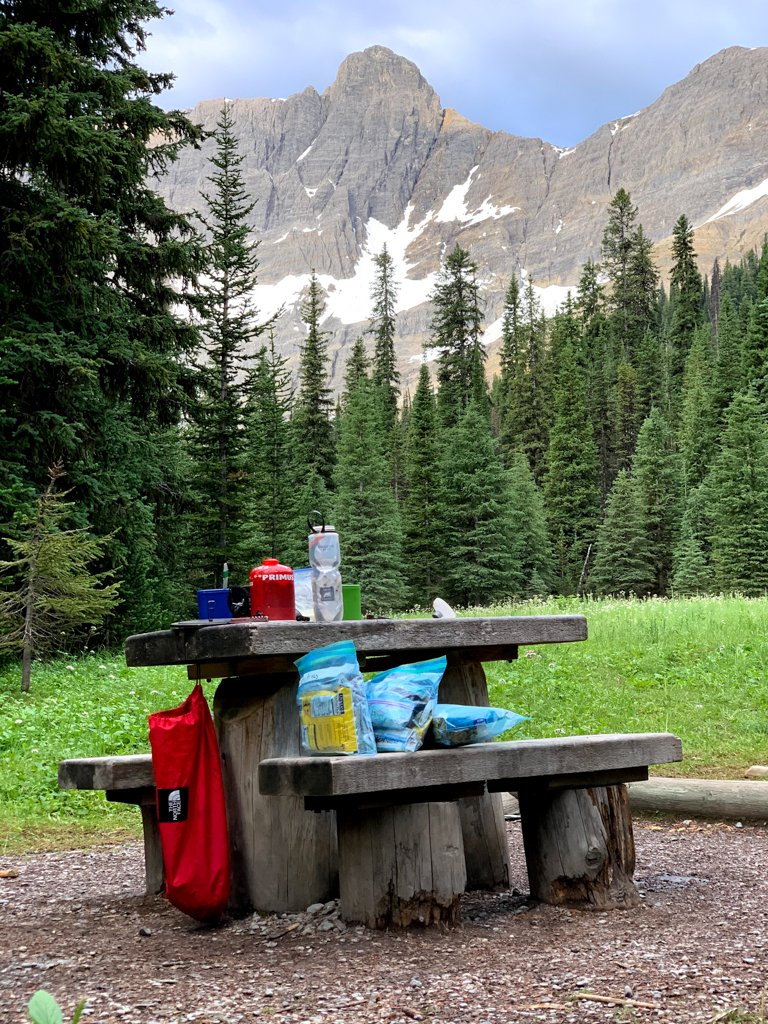 Camp kitchen gear on a table at Tumbling Creek camp on the Rockwall Trail