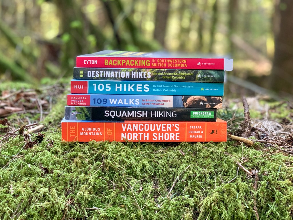 A stack of Vancouver hiking books