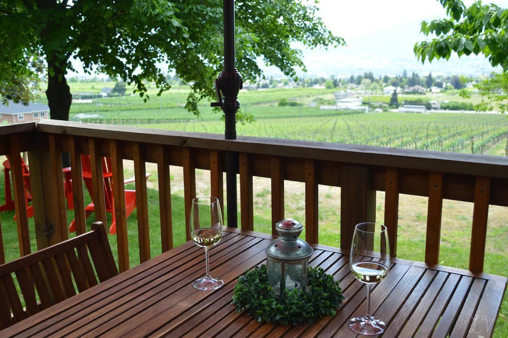 View from the deck of the cottage at the Four Shadows vineyard in Penticton.