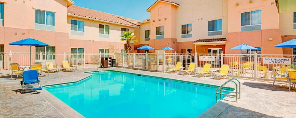 The outdoor pool and deck at the Fairfield Inn & Suites in Twentynine Palms, California - one of the best places to stay near Joshua Tree