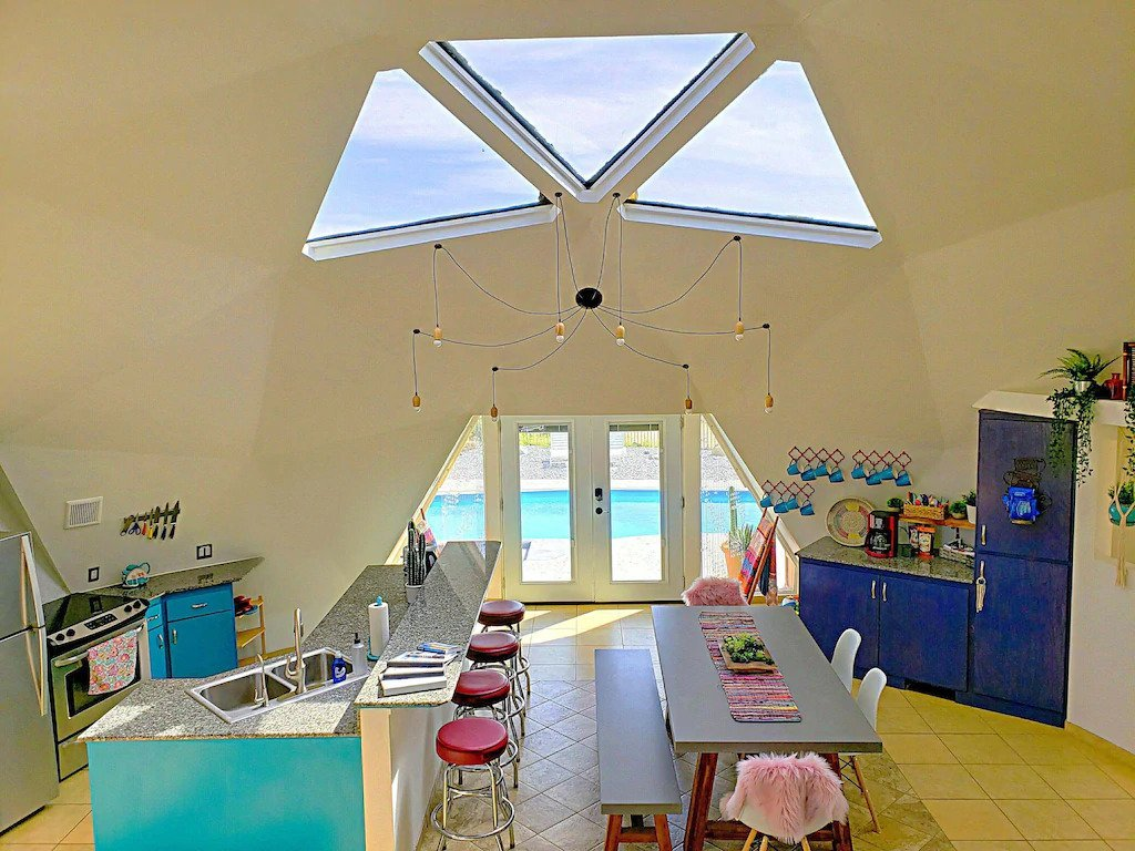 The kitchen of the Serenity Dome House - one of the best places to stay in Joshua Tree