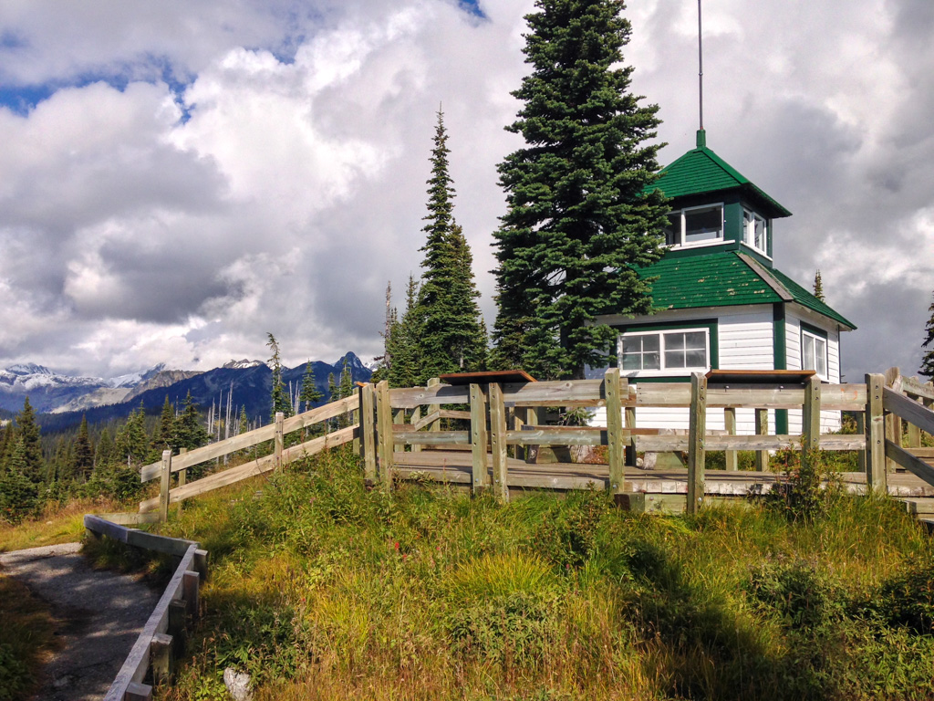 The historic fire lookout at the summit of Mount Revelstoke