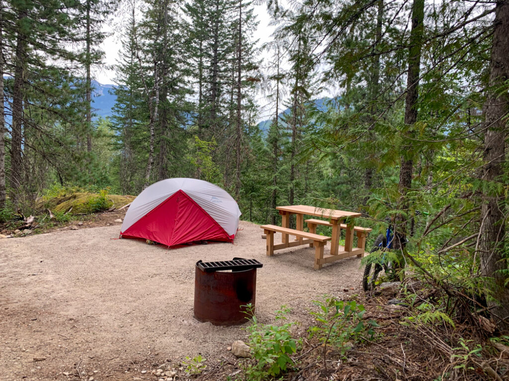 Camping at Snowforest Campground in Mount Revelstoke National Park