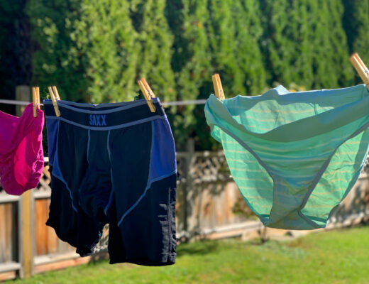 hiking underwear for women and men hanging on a clothesline