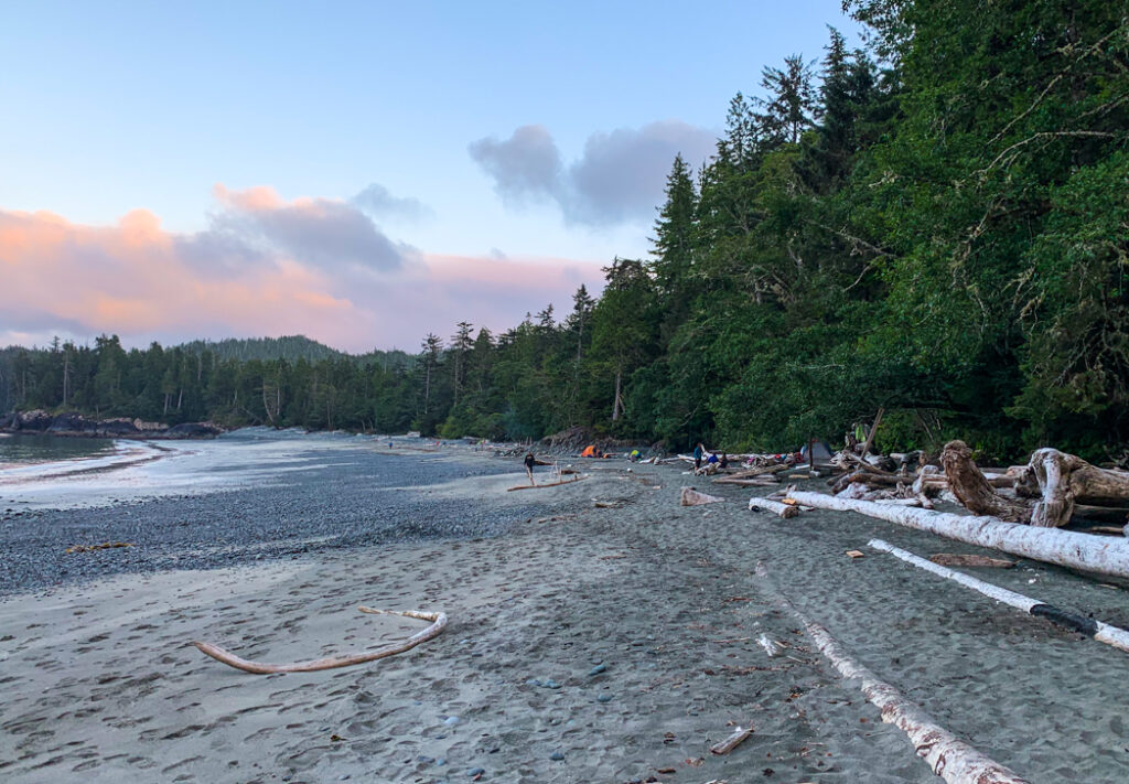 Sunset at Cape Sutil camp on the North Coast Trail